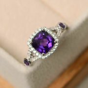 Natural 1.93 Ct Diamond Amethyst Gemstone Ring Solid 18k White Gold Size 5 6 7