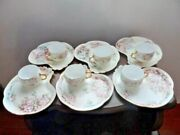 Antique Limoges Signed Artist Hand Painted Roses Cup And Saucer Snack Plate 6 Sets