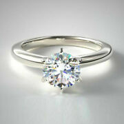 Christmas Sale 0.70 Ct Genuine Diamond Ring Solid 14k White Gold Size 5 6 7 9