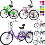 Adult Folding /tricycle 7speed 24inch 3-wheel Cruiser Bike W/basket For Shopping