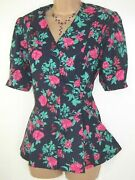 Laura Ashley Vintage Pink Country Anemone Floral Cotton Pleat Summer Blouse,16