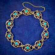Antique Victorian Turquoise Lovers Knot Bracelet 15ct Gold Circa 1900