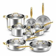 Legend Stainless Steel 5-ply Copper Core   14-piece Cookware Set   Professional