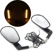 Black Rear View Mirrors W/led Front Turn Signals For Harley Vrod Vrscf 2009-2017