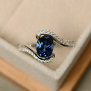 1.87 Ct Diamond Blue Gemstone Christmas Party Ring Solid 18k White Gold Ring 7 8