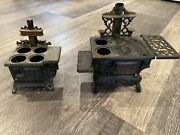 Vintage Crescent And Queen Cast Iron Toy Stove Salesman Sample