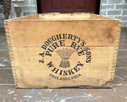 Antique Prohibiton Whiskey Crate J.a Dougherty's Philadelphia Old Overholt Sign