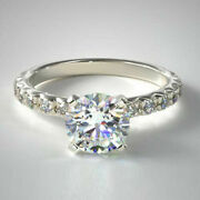 Round 1.12 Ct Real Diamond Women's Ring Solid 14k White Gold Rings Size 5 6 7 9