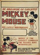 Vintage 1929 Disney Mickey The Mouse Avalanche Of Laughter 11x15.5 Window Card