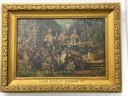 Antique Beer Advertising Sign Oil Painting Hunting Scene 1900 Schmidt Brewing Co