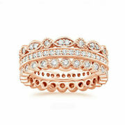 Moissanite Anniversary Eternity Bands Round 1.00 Ct 14k Rose Gold Size 5 6.5 7.5