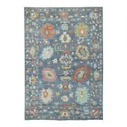 6and039x8and0395 Denim Blue Angora Oushak Organic Wool Hand Knotted Oriental Rug G69016