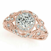 0.90 Ct Round Real Diamond Engagement Rings 14k Real Rose Gold Size 5 6 7 7.5 8