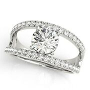 18k Or Blanc Rond Coupe 0.90 Ct Vrai Diamant Mariage Solitaire Ring Taille 5 7 8