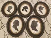 Lot Of 5 Disneyland Silhouette Oval Glass Pictures In Frames 9.5 X 7.5