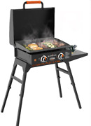Outdoor Flat Top Griddle Bbq Grill Hood Portable Folding Tailgating Camping New
