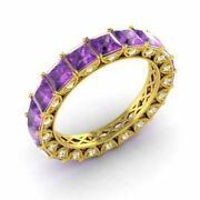 4.40 Ct Natural Diamond Amethyst Eternity Bands 14k Yellow Gold Ring Size 5 6 7