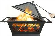 32in Square Iron Fire Pit Winter Heating Patio Bbq Camping Bonfire Bronze