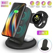 3 In 1 Wireless Charger Charging Dock Station For Iphone Air Pods Samsung Watch