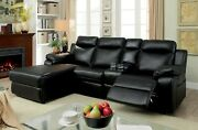 Sectional W Console Living Room Reclining Plush Black Leatherette Cup Holder