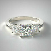 1.27 Ct Vrai Diamant Mariage Bague Trilogie Solide 950 Platine Band Taille 5 6 7