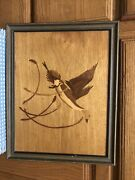 Hudson River Wood Marquetry Inlay Wall Art Duck 17x14 Nelson Goose. Unmarked