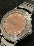 Movado Antimagnetic 1940s Military Style Rare Salmon Dial - 10 Apr Value W/ Coa