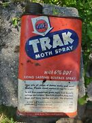 Vtg Trak Gulf Oil Co Moth Spray Old Tin Can Pint 1950s Advert Insecticide Rusty