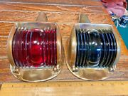 Vintage Pair Of Hinged Cast Bronze Glass Running Lights New Wiring/leds 10 Long