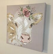 New Country Farmhouse Sweet Rose Pink Flower Cow Picture Canvas Wall Hanging