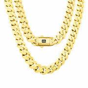 10k Yellow Gold Miami Cuban 15mm Royal Monaco Curb Link Chain Necklace 20- 30