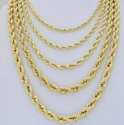 14k Yellow Gold Rope Diamond Cut 6mm-9mm Chain Necklace Or Bracelet Mens 8-30