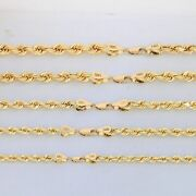 14k Yellow Gold Rope Diamond Cut Chain Mens Necklace 20-30 6mm 7mm 8mm 9mm