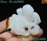Old China Dynasty Top Natural Hetian Jade Carve Boy Tongzi Frog Gold Toad Statue