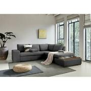 Bianca Dark Gray Woven Fabric Sectional Sofa With Console Table And Right Chaise