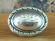 Antique 1801 Georgian Silver Floral Engraved Oval Nutmeg Grater Thomas Willmore