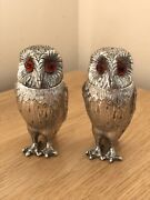 Superb Vintage Novelty Silver/gilt Twin Owl Salt And Pepper Pots By William Comyns