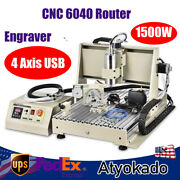 1500w 4 Axis Usb Cnc 6040 Router Milling Machine Engraver Engraving Drilling Kit