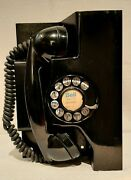 Vtg 1960 Western Electric Black Rotary Dial Up Wall Phone Metal Base F1 Handset