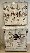 Vintage Oriental Bar Cocktail Cabinet With Wall Mount Piece Asian Furniture
