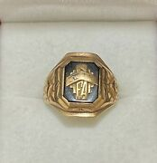 1932 Antique Fort Ann High School Class Ring In Solid Yellow Gold 6k Apr W/coa}