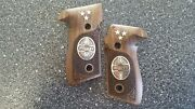 Sig Sauer P226 Walnut Grips With Real Pure Silver Logo