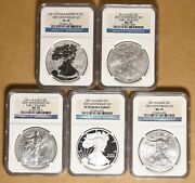 2011 American Eagle Silver Dollar 25th Anniversary Set Ngc Ms70 And Pf70