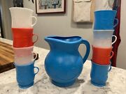 Oh Yeah Original Vintage Kool Aid Pitcher Blue And 8 Cup Mug Set Red White