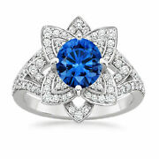 1.91 Ct Natural Blue Sapphire Diamond Rings 14k Solid White Gold Wedding Rings