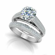 0.92 Ct Real Diamond Engagement Ring 14k Solid White Gold Band Set Size 5 6 7 8