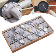 30 Slot Jewelry Watch Wooden Box Storage Organizer Display Tray Cases Gifts Men