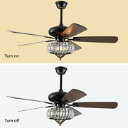 Used52 Led Crystal Ceiling Remote Control Fan Lamp Chandelier Pendant Light