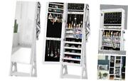 Led Jewelry Cabinet Armoire, Large Storage Lockable Organizer With White