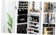 Mirror Jewelry Cabinet 79 Led Lights Wall-mount/ Door-hanging Armoire, White